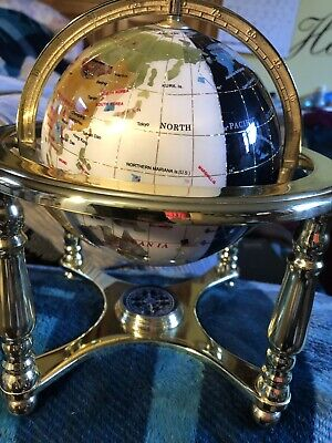 Beautiful gemstone globe world globe with compass