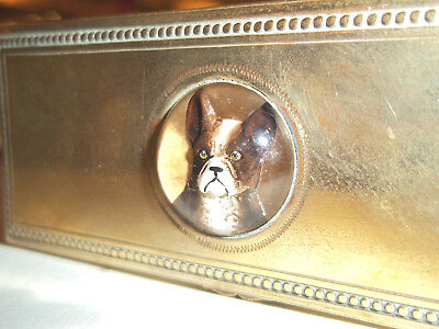 Rare Antique Trinket  Box With Rock Crystal French Bull Dog Insert -Superb!