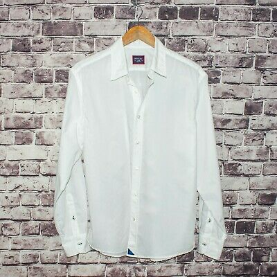 13f59a1b3 UNTUCKit Men s Button Front Shirt Solid White Cotton Size Large Made in USA