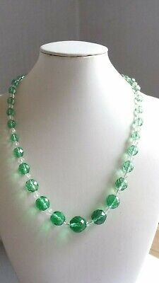 Czech Vintage Art Deco Green Faceted Glass Bead Necklace