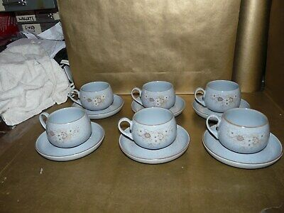 denby reflections set of 6x tea cups and saucers
