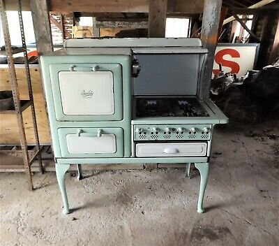 Antique Roberts & Mander Quality Gas Stove / Range, Teal & White Porcelain, Nice