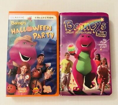 Barney VHS Videos  Barney's Halloween Party & Barney's Great Adventure Lot Of 2