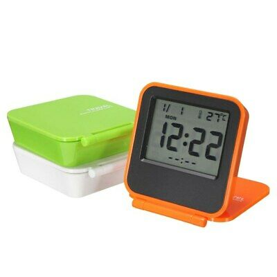 Foldable LCD Digital Travel Desk Alarm Snooze Clock Date Day Thermometer