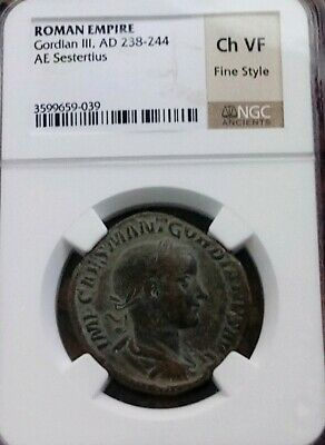Roman Empire Gordian III Sestertius NGC Choice VF Fine Style Ancient Coin