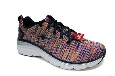 Skechers Fashion Fit Womens Sneakers 7 Shoes Lace Up Floral Blue Memory Foam