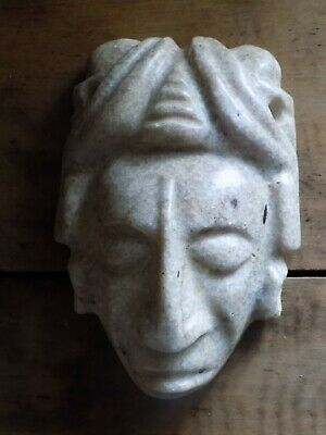 Pre-Colombian Hand-Carved Stone Mask (700 B.C - 1200 A.D)