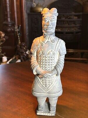 "Chinese Replica Soldier Statue Figurine Terracotta Warrior Clay 10 1/2"" Tall"
