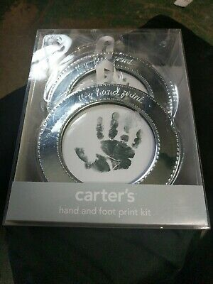 NEW CARTER'S BABY  HAND and FOOT PRINT KIT SILVER  2 FRAMES PAPER  STAMP PA NIB