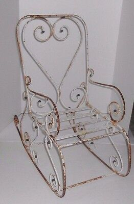 Vintage Childs Kid Rocking Chair Rustic Scrolled Wrought Iron Lawn Garden Decor