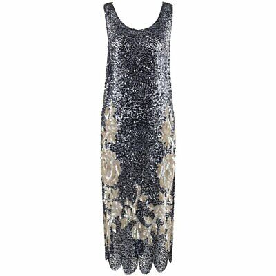 COUTURE c.1920's Navy Blue Net Floral Rose Sequin Flapper Tabard / Evening Dress