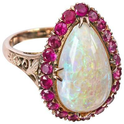 Antique c.1930's Large Teardrop Opal 21 Ruby Surround 14 KT Rose Gold Ring