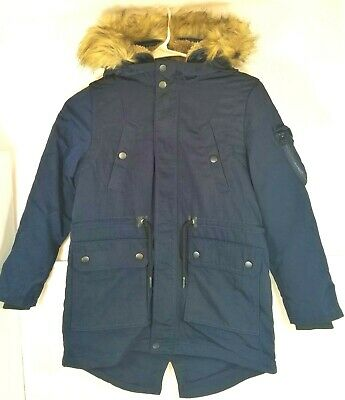 f42dc9bf Zara Boys Sz 8 Collection Parka Navy Removable Liner/Faux Fur Trim Rain  Jacket