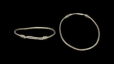 Celtic Silver Arm Ring, Round-Section Rod With Thin Terminals Wound Around Hoop