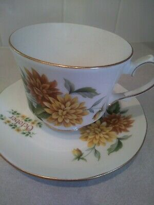 VTG DUCHESS FINE BONE CHINA CUP AND SAUCER YELLOW FLOWER MADE IN ENGLAND, Oct