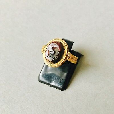 BEAUTIFUL Ancient Roman Wearable Solid Gold Oval Shaped Intaglio Ring Size: K1/2
