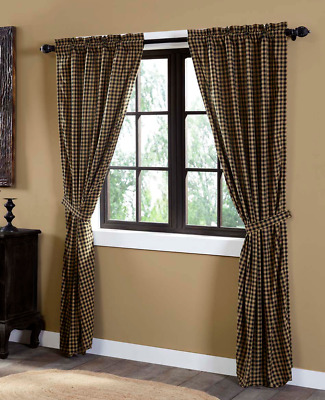 Black Check Scalloped Panel Set Curtains Rustic Khaki Primitive VHC Brands