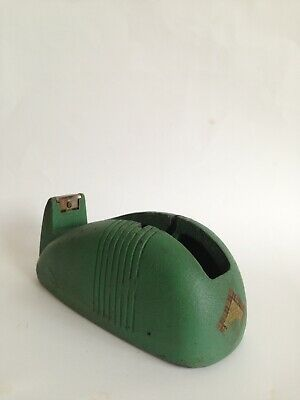 Art Deco Industrial Cast Iron Antique Tape Dispenser Green Vintage Whale Tail