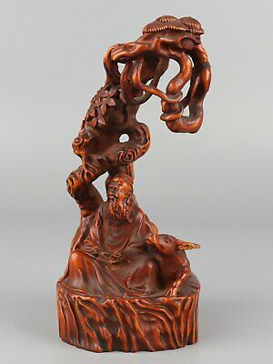 Chinese Exquisite Hand-carved Old man Cattle Carving Boxwood statue