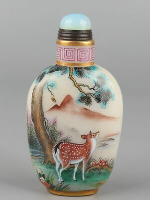 Chinese Exquisite Handmade Pine trees and deer Glass snuff bottle