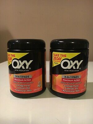 2-OXY Maximum Action 3-In-1 Treatment Pads 115x2= 330 Pads Exp 05/2019. New