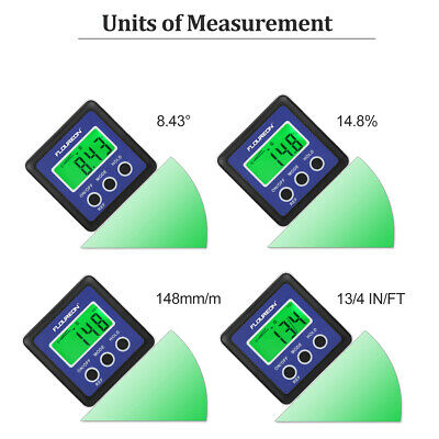 2X LCD Digital Gauge Angle Protractor Level Inclinometer Magnetic Base 0- 360°