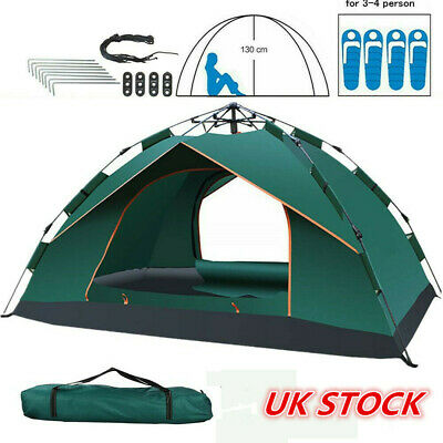 2-4 Man Person Festival Camping Tent  Pop-Up Family Hiking Fishing Beach Tent UK