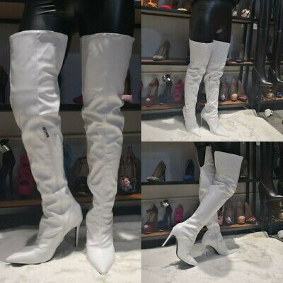 Women's Side Zip Leather Pointy Toe Stilettos High Heel Over the Knee Boots Shoe