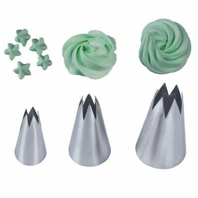 3pcs Stainless Steel Icing Piping Nozzles Fondant Cake Decor Pastry Tips