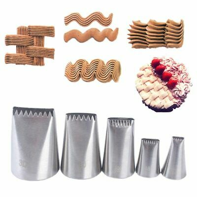 5pcs Stainless Steel Icing Piping Nozzles Fondant Cake Decor Biscuit Pastry Tips
