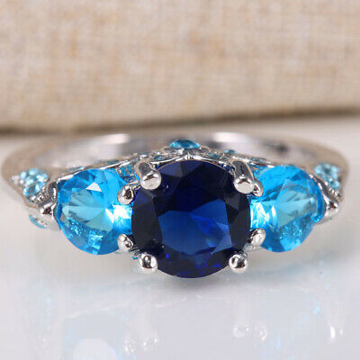 2.8ct Women 925 Silver Sapphire Gemstone Ring Wedding Bridal Engagement Size6-12