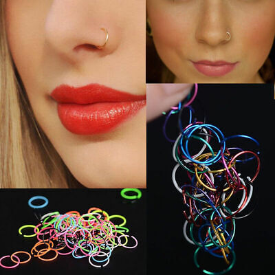 40X Small Thin Surgical Steel Nose Ring Nose Piercing Lip Hoop Jewelry Ri z D7D0