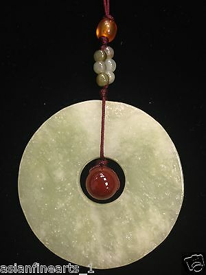 Old Natural Hetian Green Jade Cong Round Pendant Necklace Chinese Antique #179