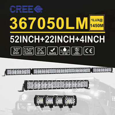 53Inch CREE LED Light Bar+22''+4x 4'' Driving Offroad 4x4 Spot Flood Combo Lamp