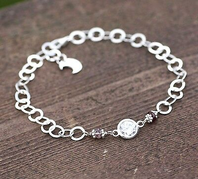 Natural Spinel and Cubic Zirconia Charm Bracelet in Sterling Silver Moon Charm