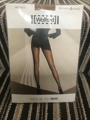 Wolford Miss W Absolute Support Tights 30 Denier Leg Size Large Caramel Colour