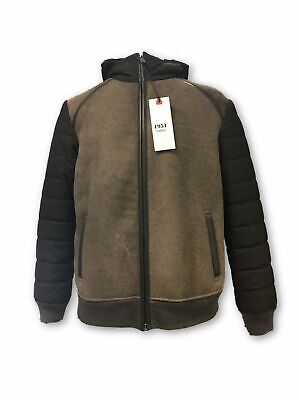 Torras hooded suede outerwear in brown and grey rrp £750.00