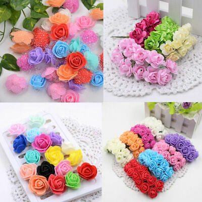 Foam Mini Small pack of 72 Flowers Head Roses Home  Bouquet Party Wedding Decor