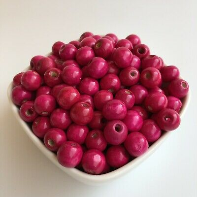 50X Hot Pink Wood Beads 12x11mm Round DIY Macrame Craft Wooden Bead