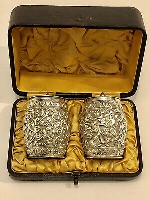 Exquisite Antique  Islamic Persian Indian Kutch Large Solid Silver Pepperettes