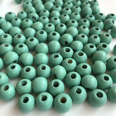 50X Turquoise Green Wood Beads 12.5x11mm Round DIY Macrame Craft Wooden Bead