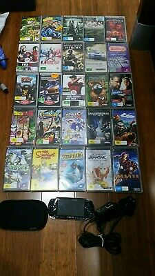PSP 1002 Console +  22 Genuine UMD Games + 3 Movies + Charger+More Bargain