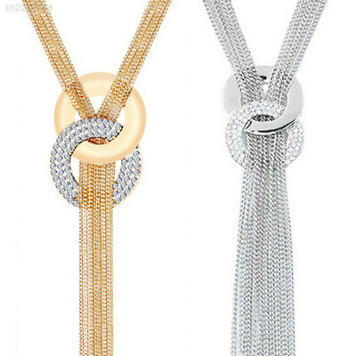 A38A 6D92 Gold Crystal Rhinestone Tassel Long Pendants Chain Necklace Fine Gifts