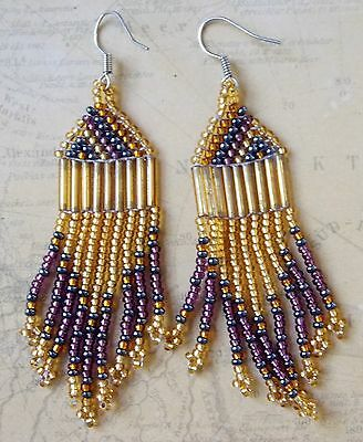 *Vintage 1990s Hand Crafted Amber & Purple Glass Seed Bead Dangle Earrings