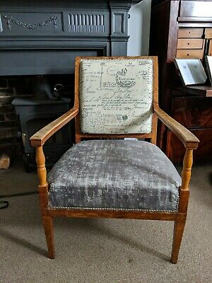 Antique Original 19th Century Swedish Biedermeier Birch Armchair