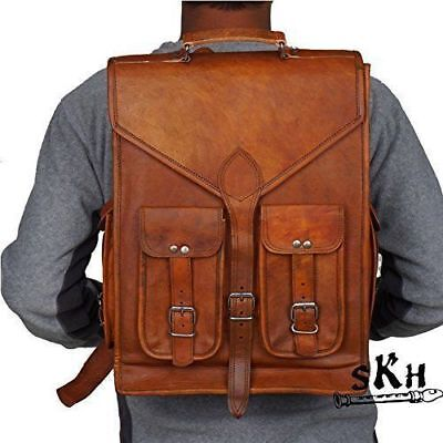 d6a25fefd Real Handmade leather Men's Backpack Bag laptop Satchel briefcase Brown  Vintage