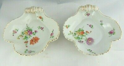 Pair Of Antique Bing & Grondahl Hand Painted Bon Bon Dishes 1898-1902