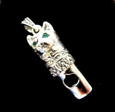 Sterling Silver 3d Cat Kitten working Whistle Charm pendant Victorian style NEW