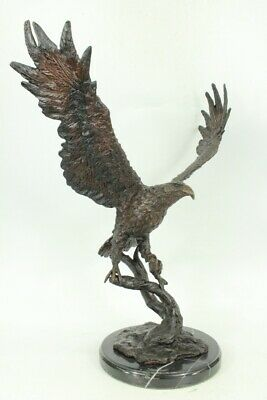 JULES MOIGNIEZ Cast Bronze Eagle with Dark Patina on Marble Base Figurine Deal