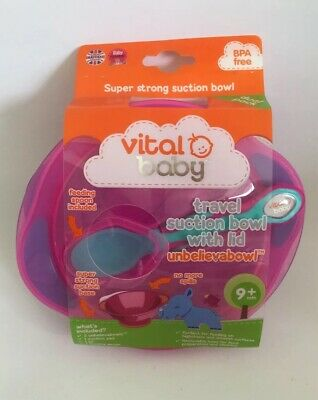Vital Baby Unbelievabowl Travel Suction Bowl - Pack Of 2 With Lid & Spoon